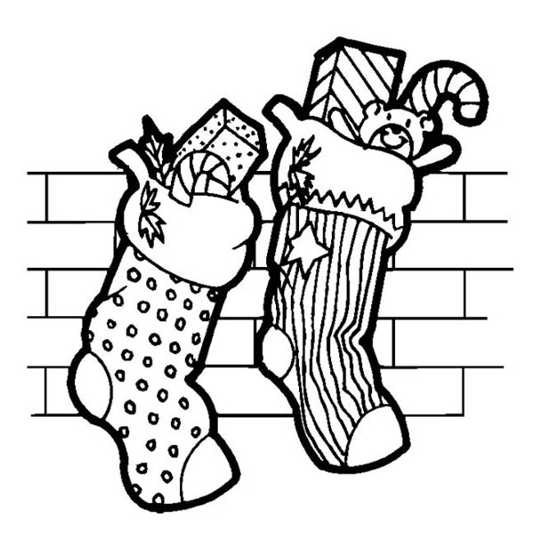600x600 Two Christmas Stocking Full Of Candy On Christmas Coloring Page