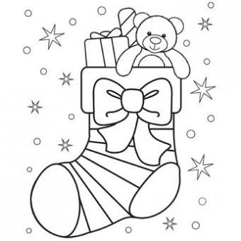 340x340 Christmas Stocking Coloring Page