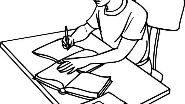 750x425 Coloring Pages For College Students A Girl Student Writing