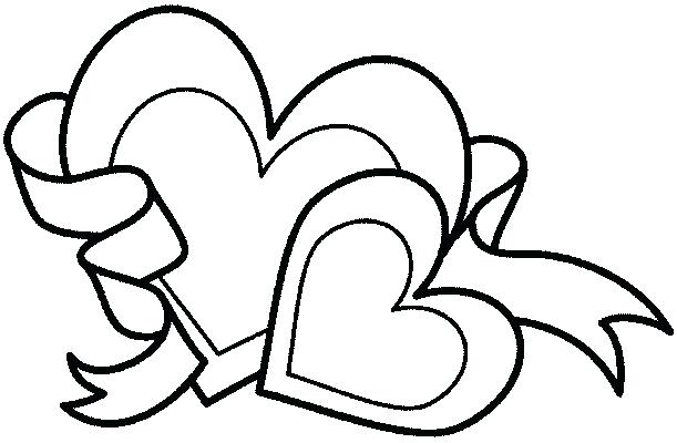 611x400 Hearts And Flowers Coloring Pages