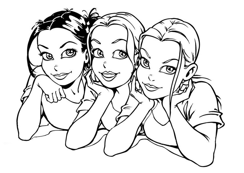 820x580 Colouring Page Of Three Smiley Girls For Girls