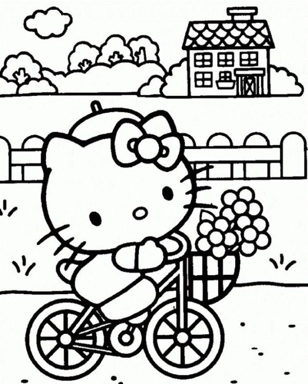 600x748 Hello Kitty Bicycle Coloring Pages