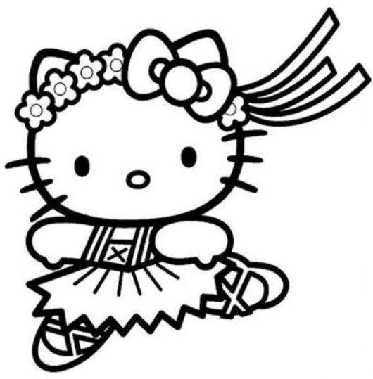 530x539 Hello Kitty Cute Mermaid Coloring Pages