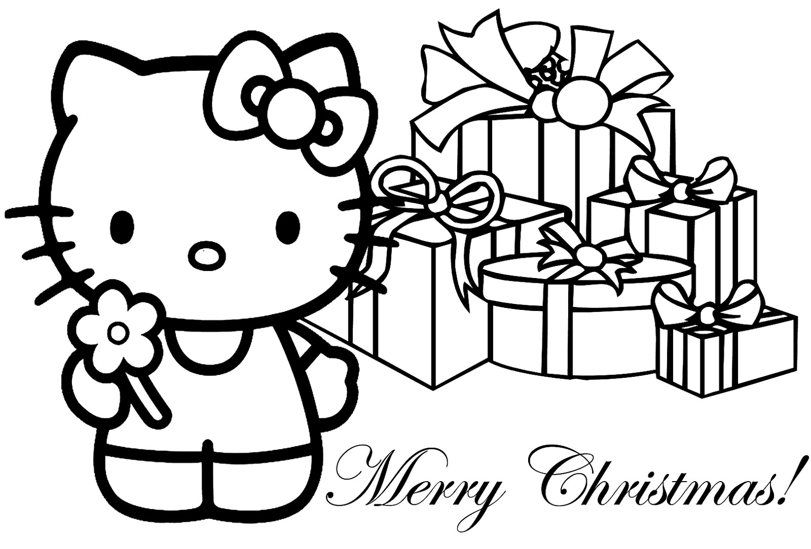 1600x1084 Picturesque Christmas Color Pages Printable To Fancy Hello Kitty