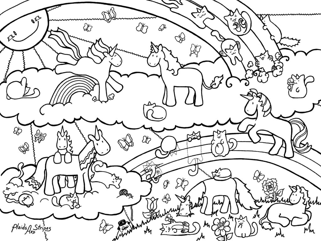 1024x769 Unicorn Rainbow Coloring Pages