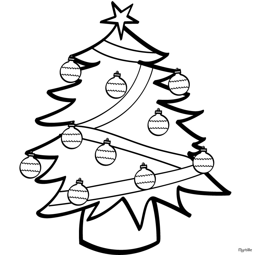 820x820 Decorated Christmas Tree Coloring Pages For Kids