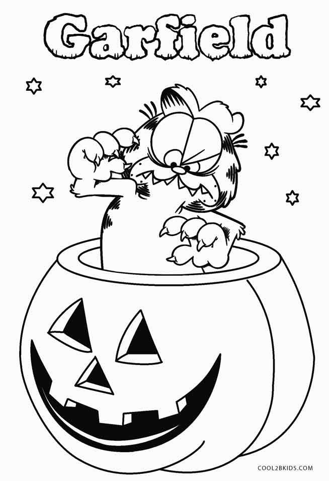 654x954 Garfield Halloween Coloring Pages Printable Garfield Coloring
