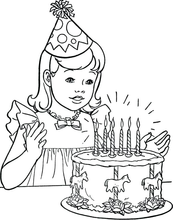 600x762 Girl Coloring Pages Printable Kids Coloring Birthday Girl Coloring