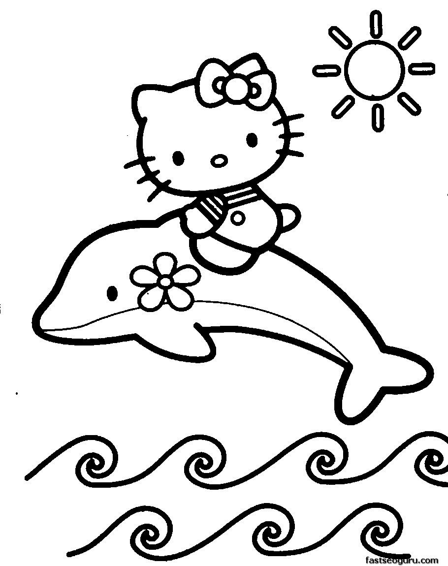 910x1150 Print Out Coloring Pages Of Dolphin With Hello Kitty Dolphin