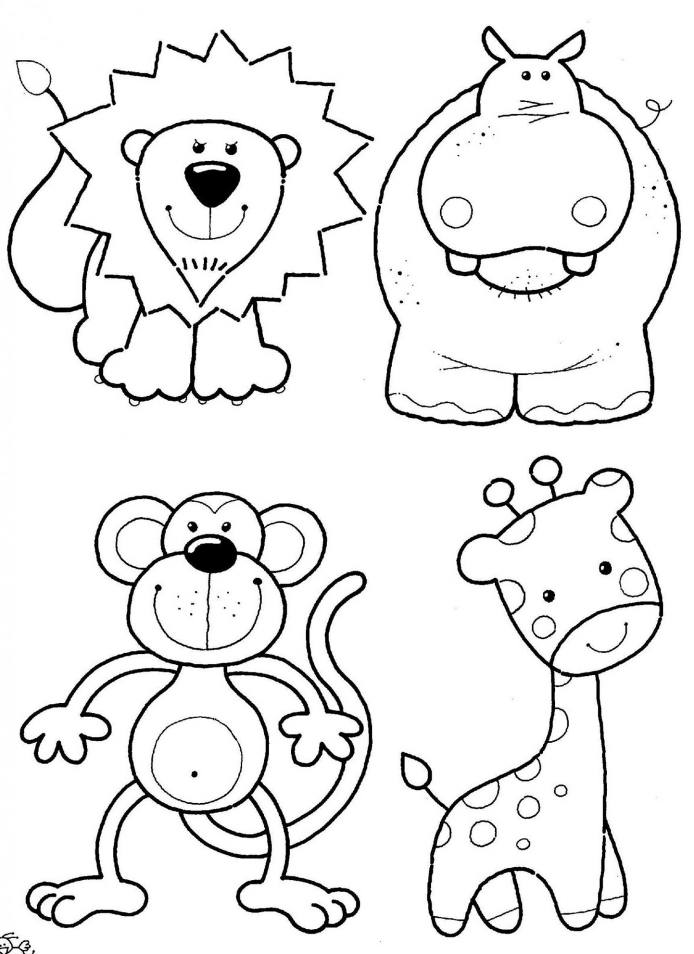 1400x1924 Simplistic Printable Colouring Pages Of Animals Coloring Page