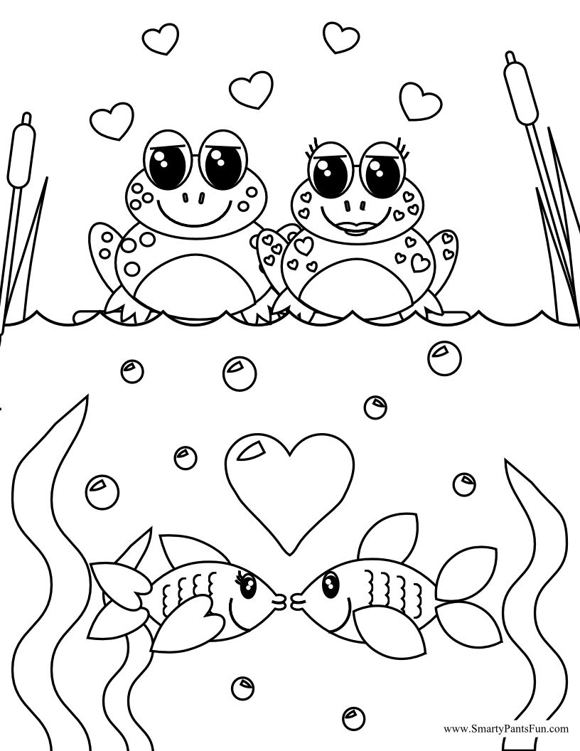 816x1056 Frog And Fish Couples Valentine Day Coloring Page Adult Coloring