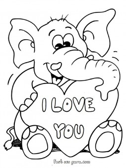 254x338 Printable Valentines Day Teddy Elephant Card Coloring Pages