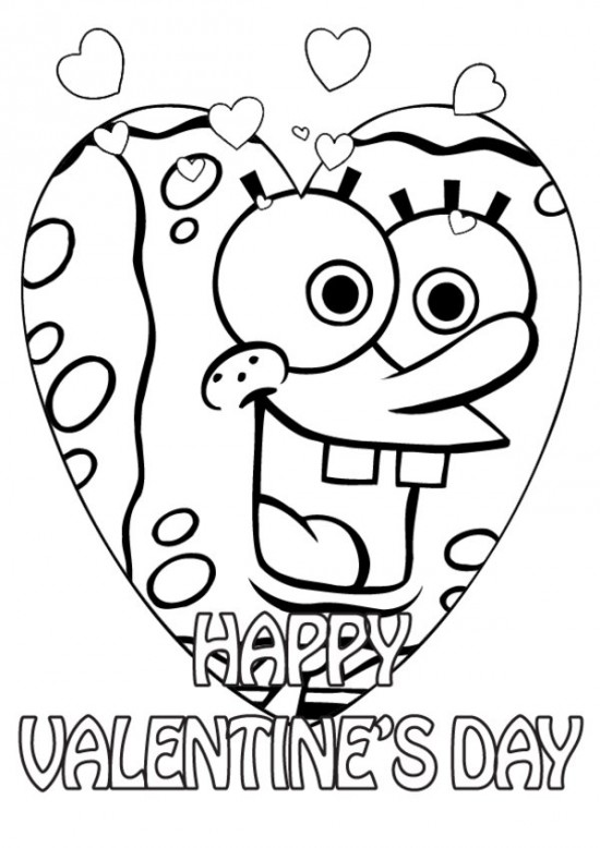550x778 Best Spongebob Valentines Day Coloring Pages Free Printable