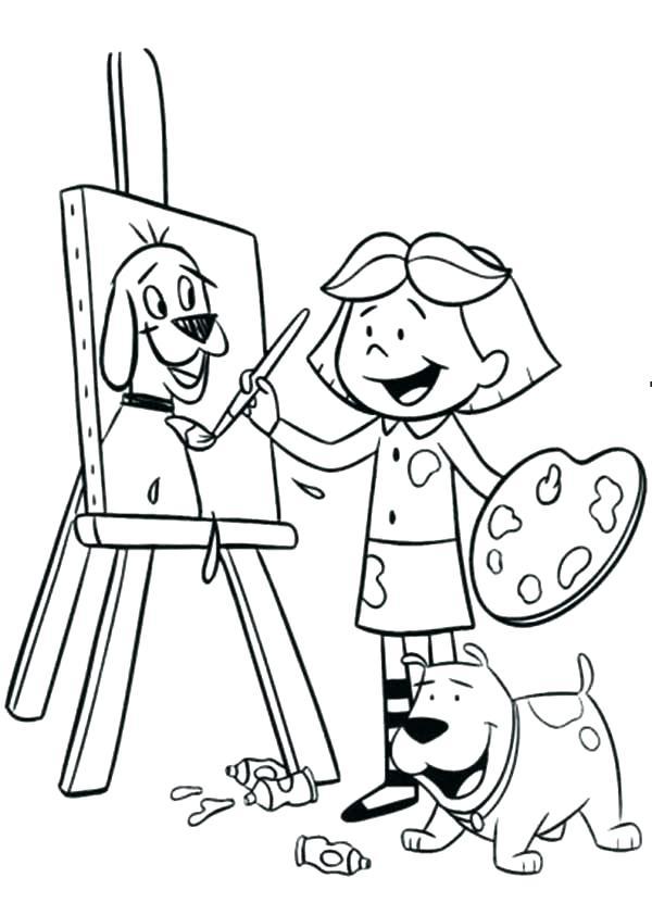 600x842 Paint Coloring Pages Little Girl Regarding Designs
