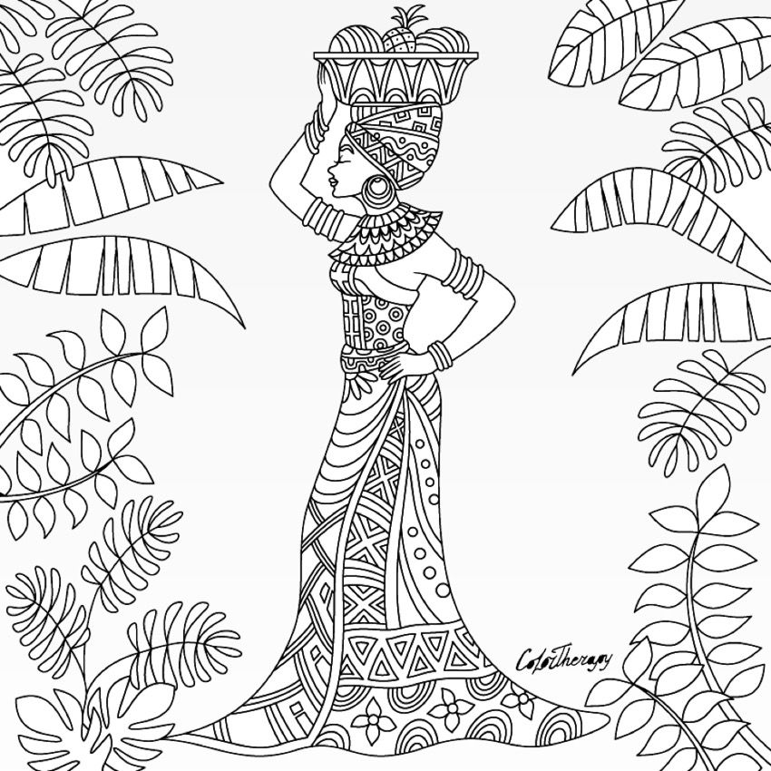 850x850 Jamaican Beautiful Women Coloring Pages For Adults