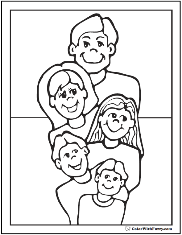 590x762 Family Father's Day Coloring Page Dad, Mom, Kids