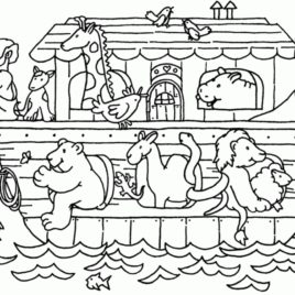 268x268 Noah Ark Coloring Pages Noah Noahs Animals Printable Colors Adult