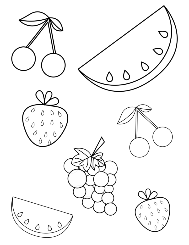 791x1024 Free Summer Fruits Coloring Page Pdf For Toddlers Preschoolers