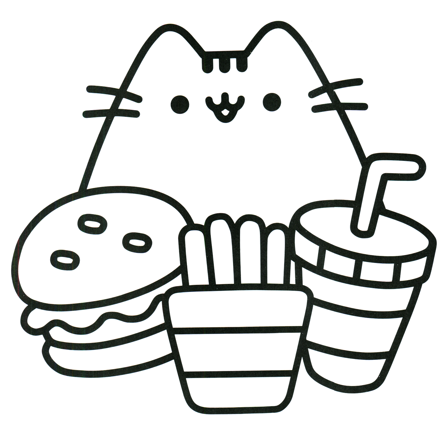1430x1424 Pusheen Coloring Pages