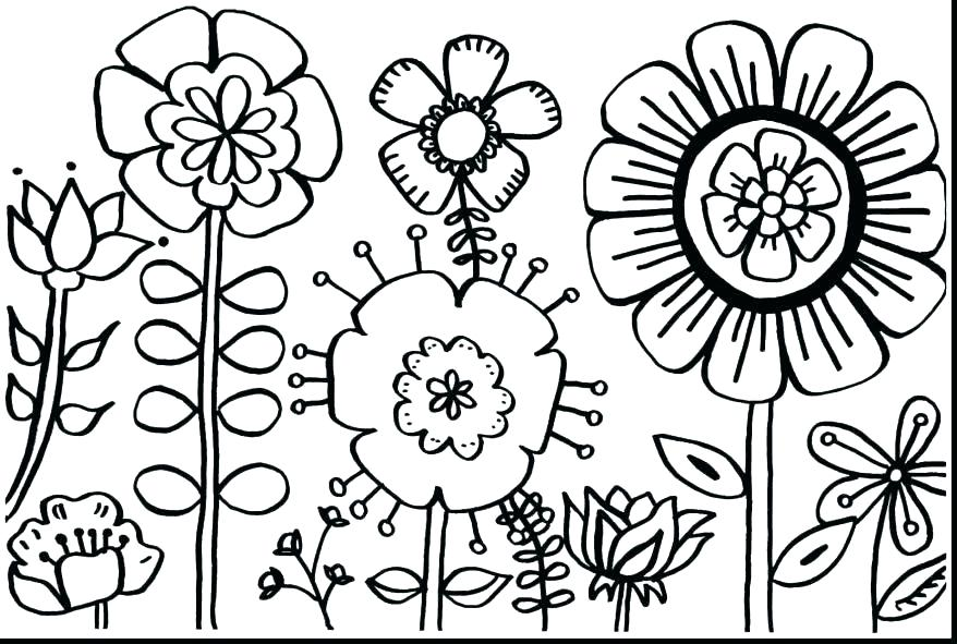 878x591 Spring Flowers Coloring Page Spring Coloring Pages