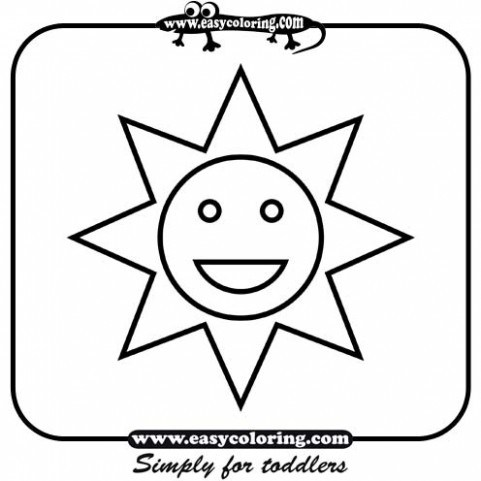 481x481 Sun Simple Shapes Easy Coloring Pages For Toddlers Sketch