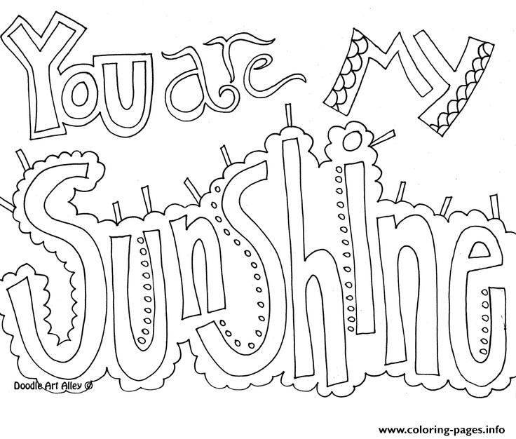 736x626 You Are My Sunshine Word Coloring Pages Printable