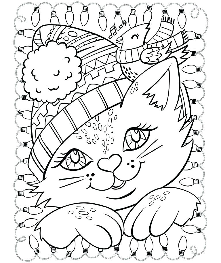 768x912 Seasons Coloring Pages Seasons Coloring Page Cat And Cardinal
