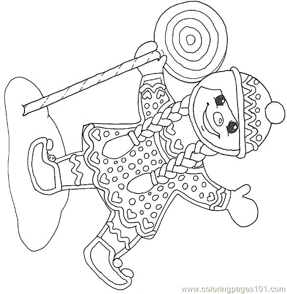 586x600 Mural Gingerbread Girl With Lollipop Reverse Coloring Page Free