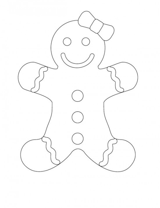 550x714 Free Printable Gingerbread Man Coloring Pages For Kids