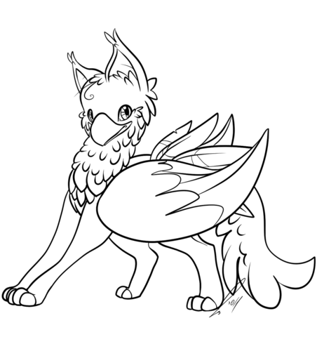 452x480 Cute Gryphon Coloring Page Griffin Category Select