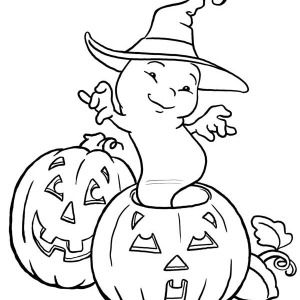 300x300 Halloween Day, White Ghost Dancing On Halloween Day Coloring Page
