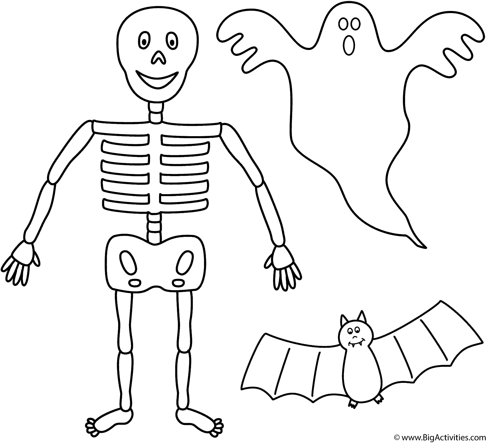 1645x1490 Skeleton With Bat And Ghost Coloring Page Halloween Ghost Coloring