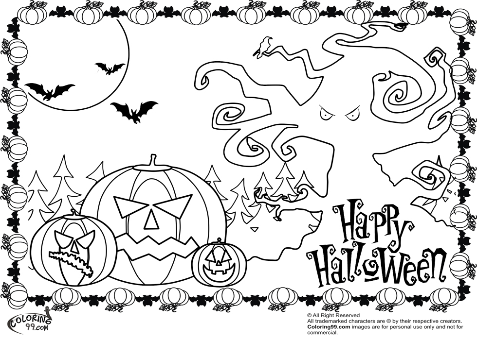 980x700 Halloween Coloring Pages Free Printable Scary To Fancy Print