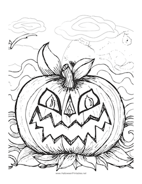 281x364 A Scary Jack O Lantern Makes A Perfect Image For Children To Color