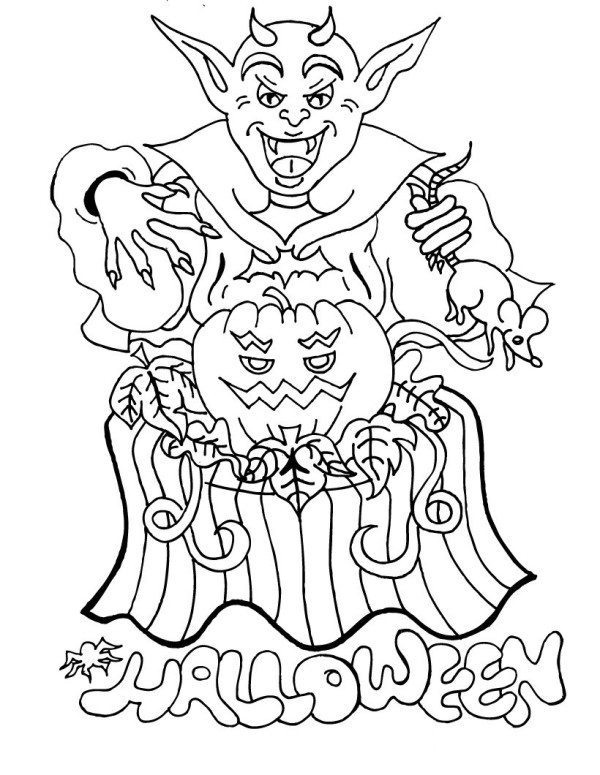 600x775 Really Scary Halloween Coloring Pages