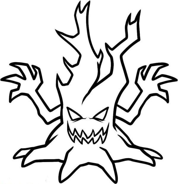600x620 Scary Halloween Tree Coloring Pages