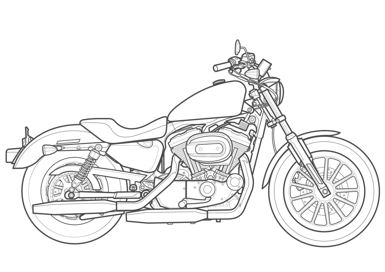 1343x950 Drawn Motorcycle Harley Davidson