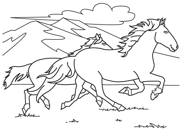 600x450 Coloring Pages Horses Running