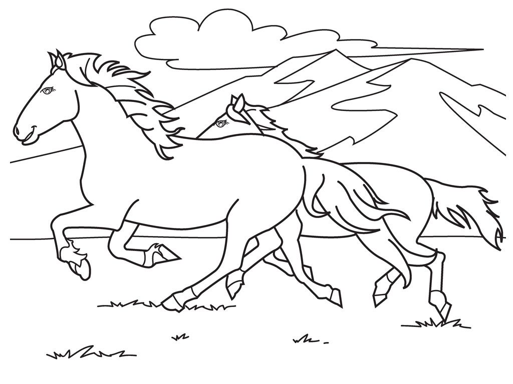 1024x768 Running White Horse Coloring Pages Patterns Horses