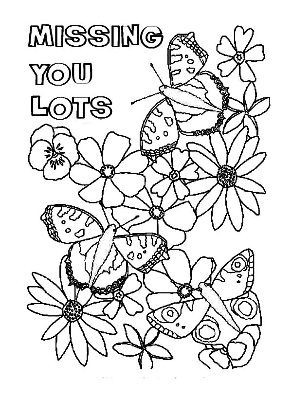 600x820 Butterfly Lands On Flowers I Miss You Coloring Pages Batch Coloring