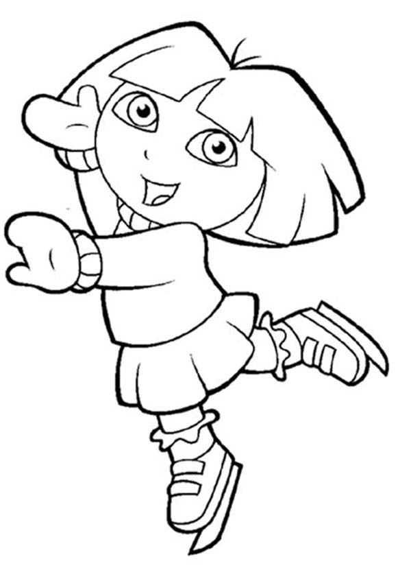 600x850 Dora Play Ice Skating In Dora The Explorer Coloring Page