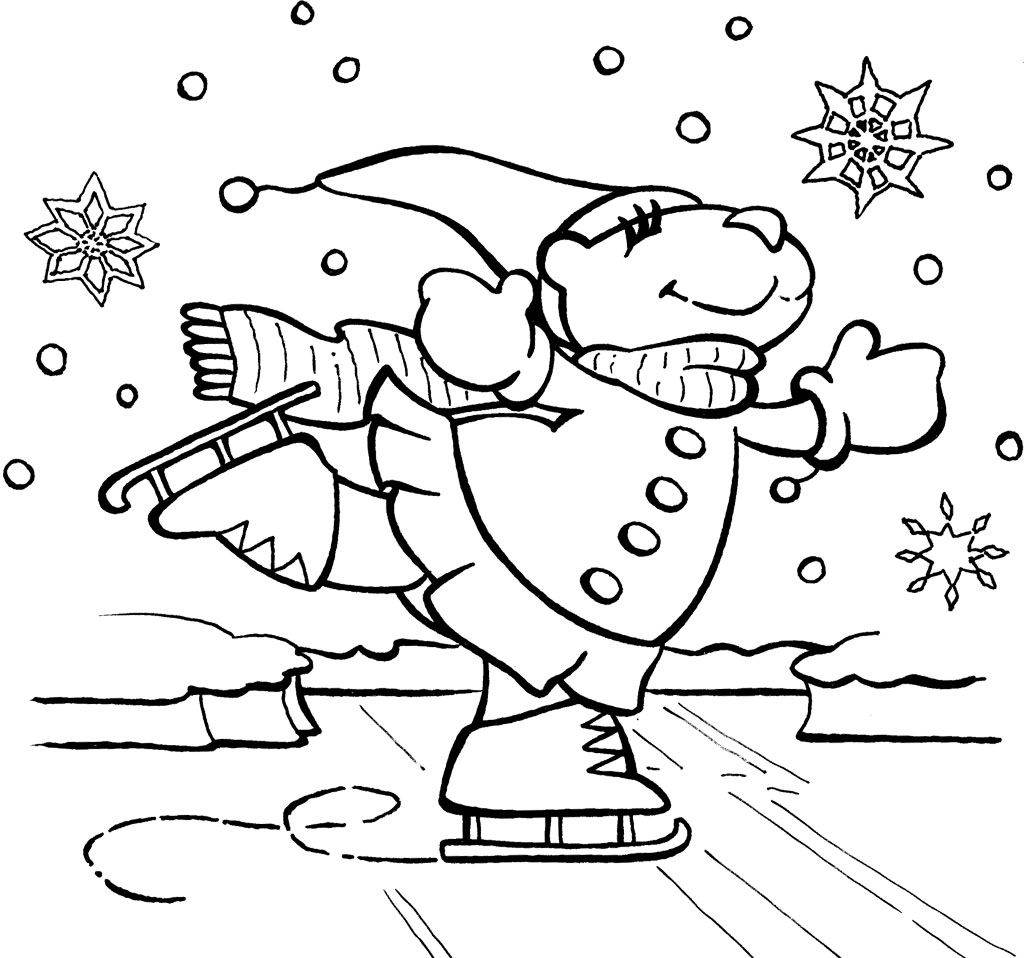 1024x958 Bear Ice Skating Coloring Page Story Time Outstanding