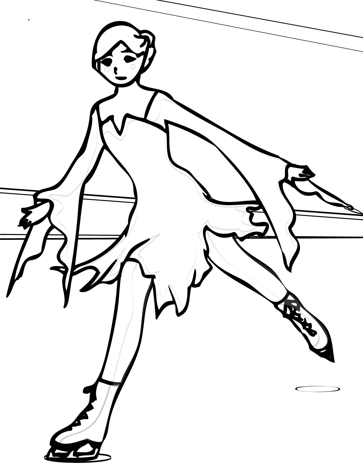 1275x1650 Ice Skating Coloring Page