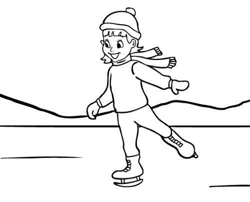 500x404 Ice Skating Girl Coloring Page