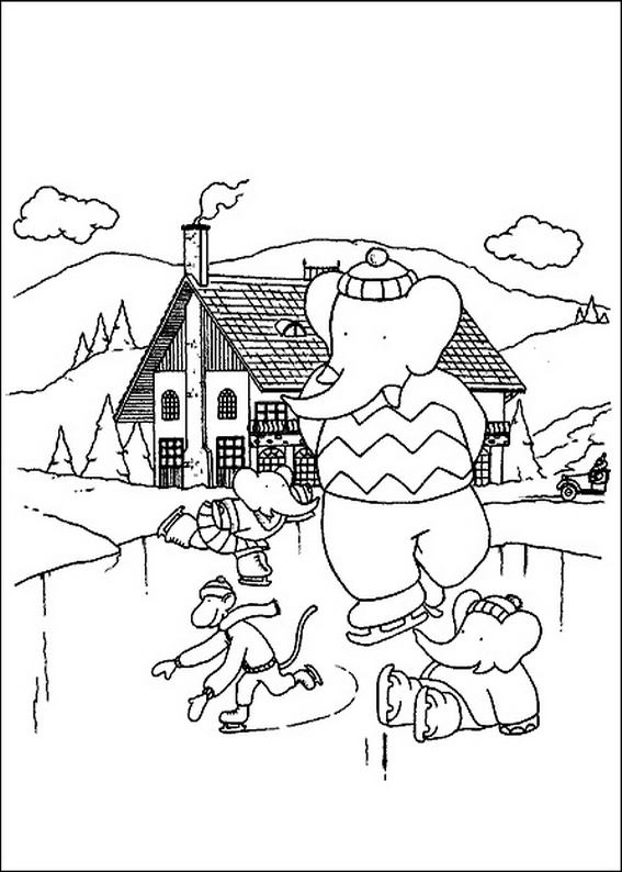 567x794 Ice Skating Coloring Page