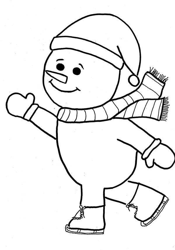 600x858 Mr Snowman On Christmas Is Doing Ice Skating Coloring Page