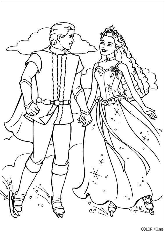 567x794 Coloring Page Barbie Magic Pegasus Ice Skating With Ken