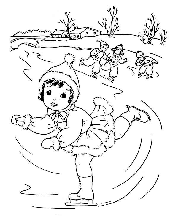 600x734 Cute Little Girl Playing Ice Skating On Winter Coloring Page