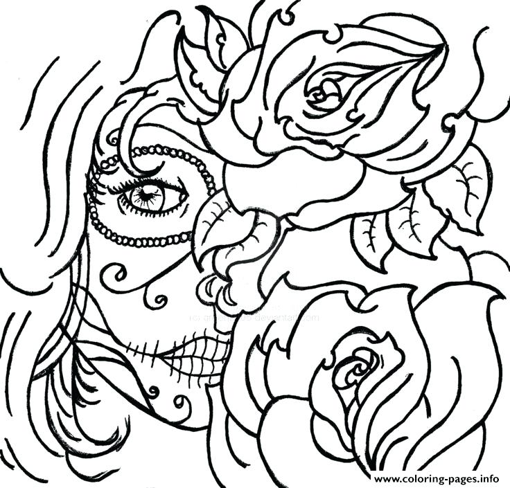 736x705 Cool Coloring Pages Free Printable Sugar Skull Coloring Pages Cool
