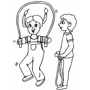 300x300 Kids Jumping Rope Coloring Page